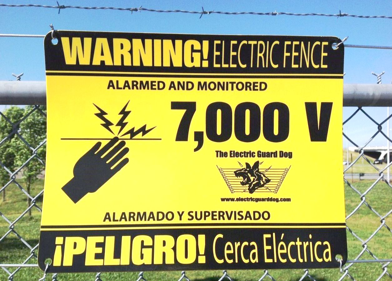 Electric Security Fence Warning Signs